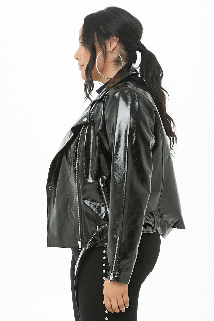 f46c50213b4 Forever 21 Women s Plus Size Faux Patent Leather Moto Jacket in ...