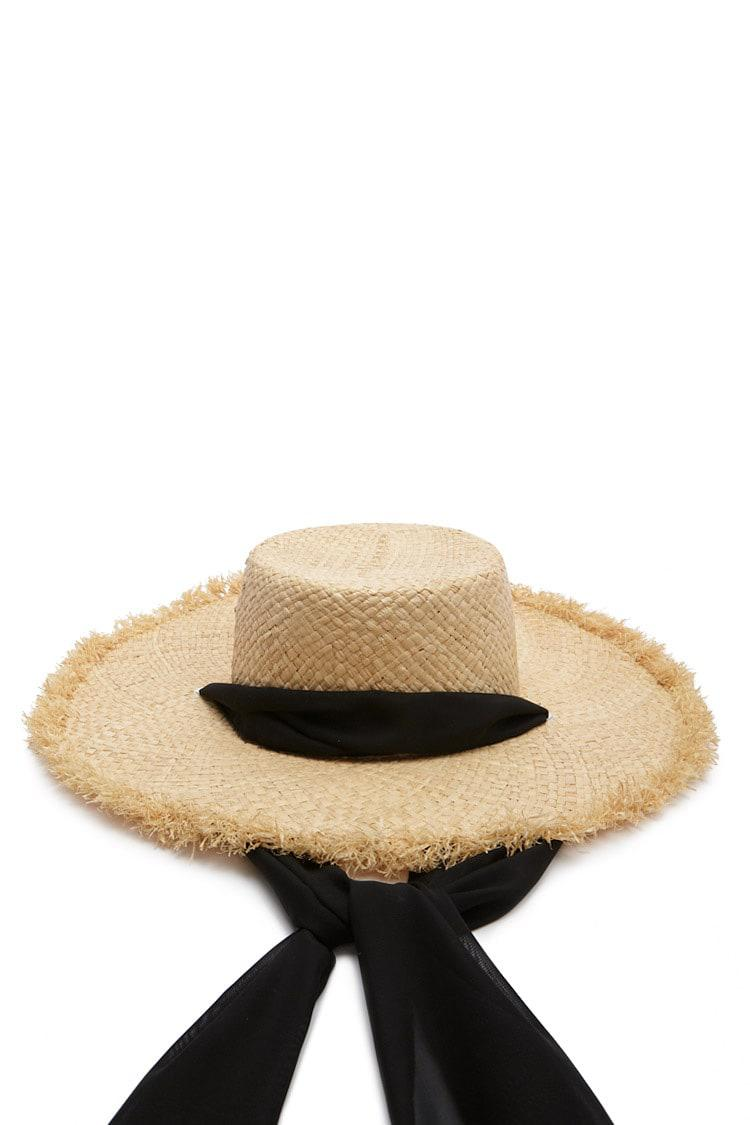 343d188c6a0 Lyst - Forever 21 Chiffon Band Straw Hat in Natural