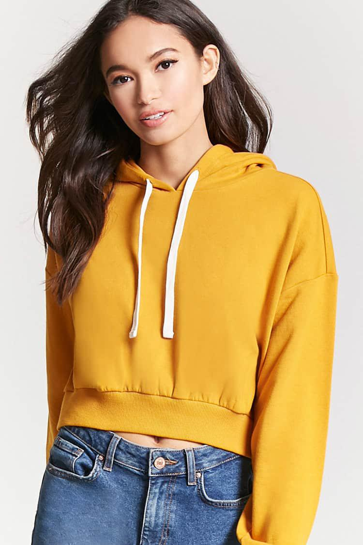 54158e79fb7f59 Lyst - Forever 21 French Terry Cropped Hoodie in Metallic
