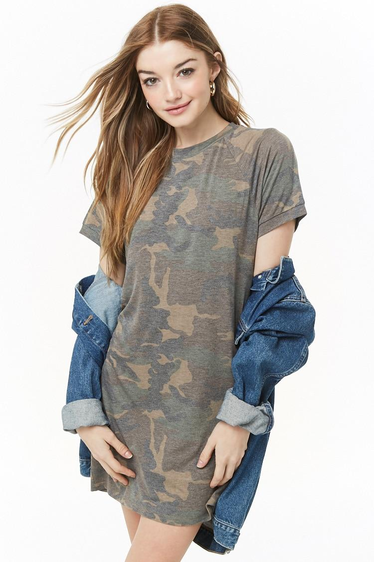 7455d375f2c0 Forever 21 Women's Faded Camo T-shirt Dress - Lyst