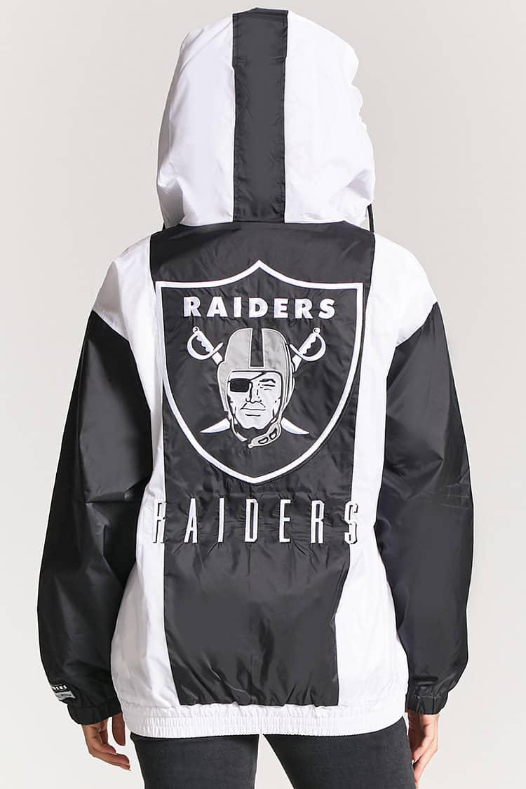 sports shoes 7047f ad89a Forever 21 Black Nfl Raiders Graphic Anorak Jacket
