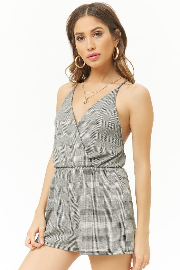 813b6a84043 Forever 21 Cross-back Glen Plaid Romper in Gray - Lyst