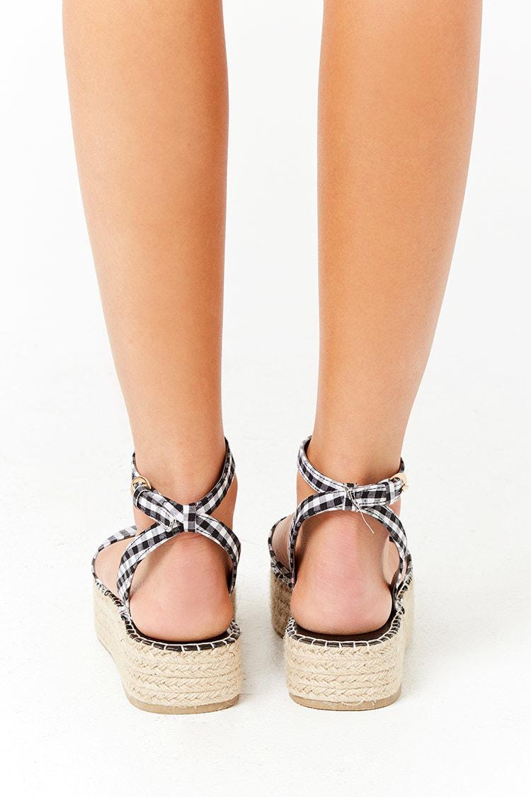 de7836c5eeb3 Forever 21 Gingham Espadrille Flatform Sandals in Black - Lyst