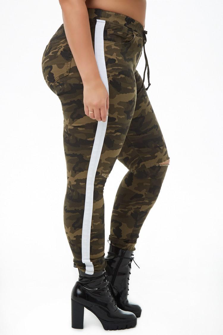 7cad222738e ... Plus Size Distressed Striped-trim Camo Jeans - Lyst. View fullscreen