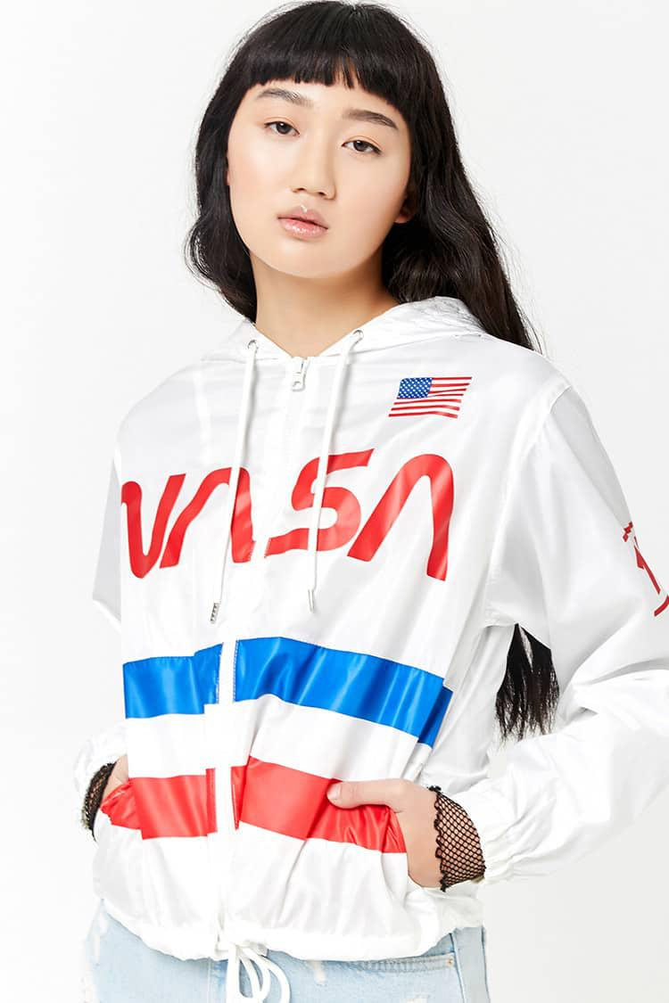 94ef12f91 Forever 21 White Nasa Graphic Windbreaker