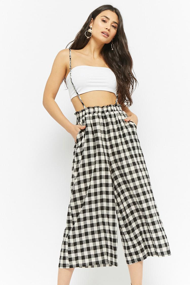 23bad677f68 Lyst - Forever 21 Buffalo Plaid Suspender Culottes in Black