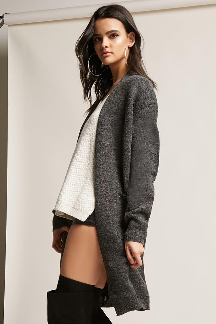 Forever 21 Fuzzy Knit Cardigan in Gray | Lyst