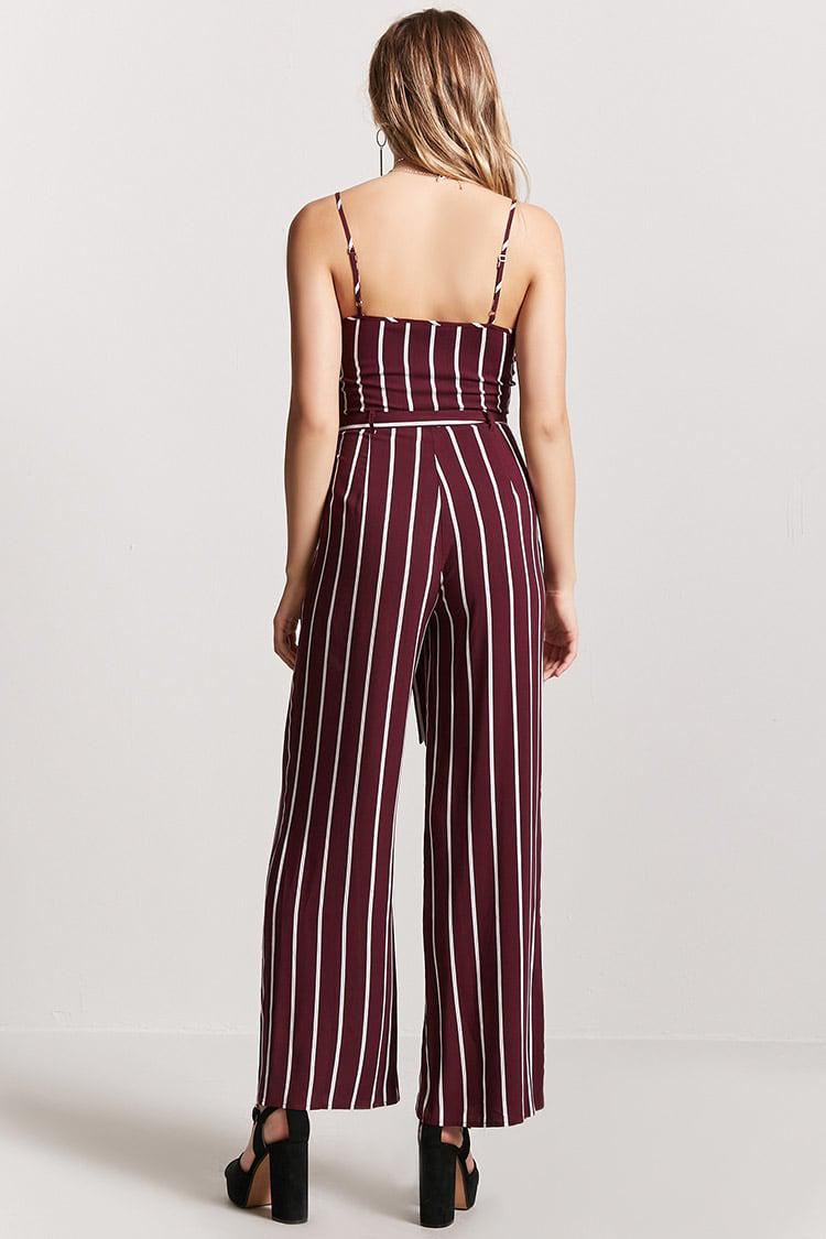 6f9408d1556 Lyst - Forever 21 Striped Cami Jumpsuit in Red