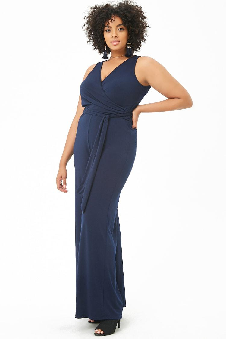 9afe1f62d8e7 Forever 21 Women s Plus Size Belted Wide-leg Jumpsuit in Blue - Lyst