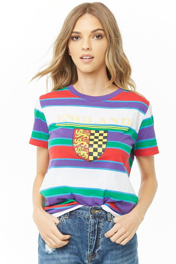 bcfeb39735605 Lyst - Forever 21 England Graphic Striped Tee