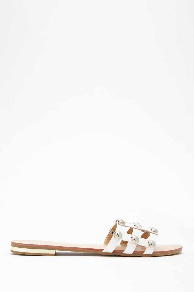 d46cd3e4400a Lyst - Forever 21 Studded Cage Slide Sandals in White