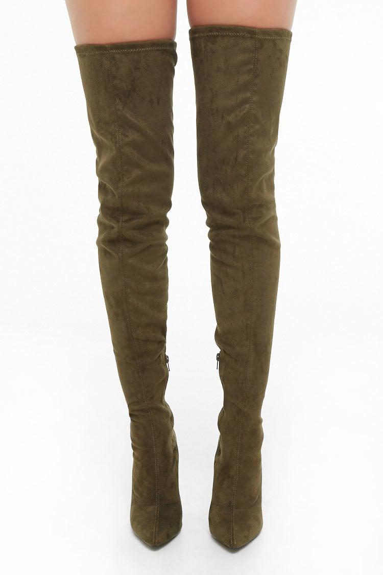 bdd088c5814 Lyst - Forever 21 Faux Suede Over-the-knee Boots in Green