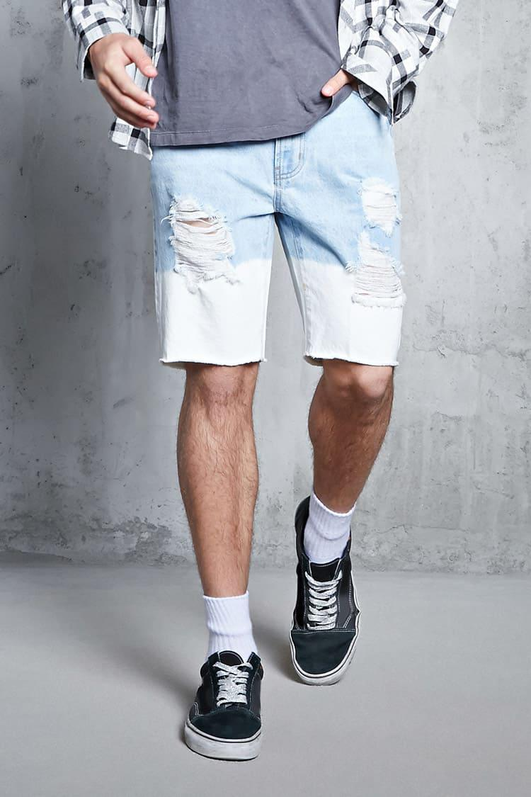 Forever 21. Men's Blue Dip-dye Denim Shorts