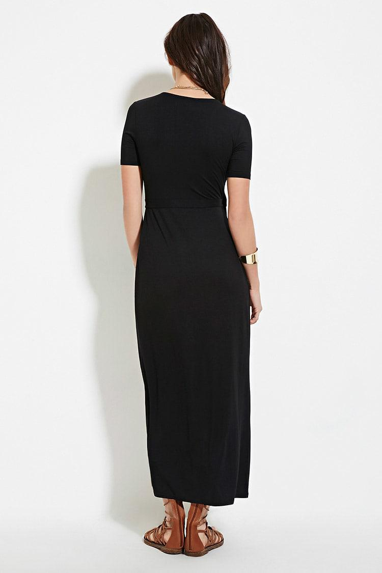 Forever 21 Synthetic Wrap Maxi Dress In Black Lyst