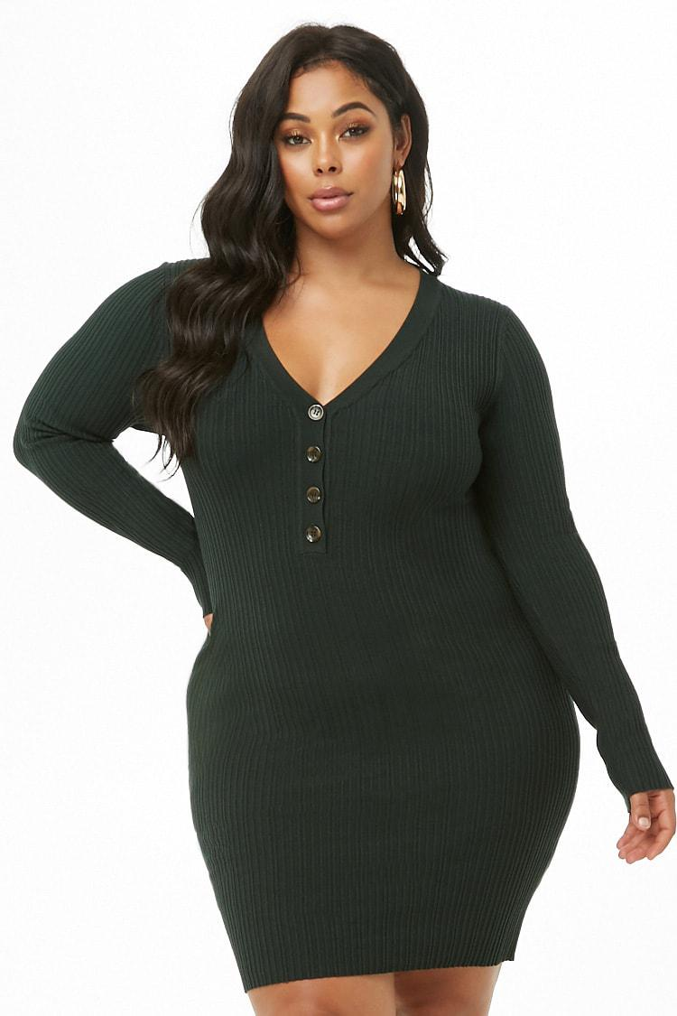 01314470fe7 Forever 21 Women s Plus Size Ribbed Henley Dress in Green - Lyst