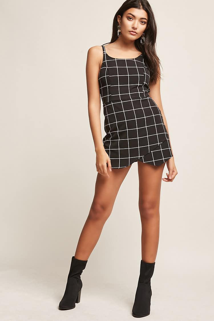 7d33f1449ae2 Lyst - Forever 21 Grid Print Playsuit in Black