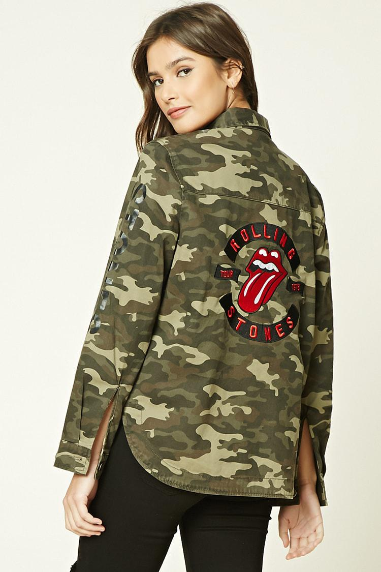 f45241ad2b1ab Forever 21 Rolling Stones Camo Jacket in Brown - Lyst