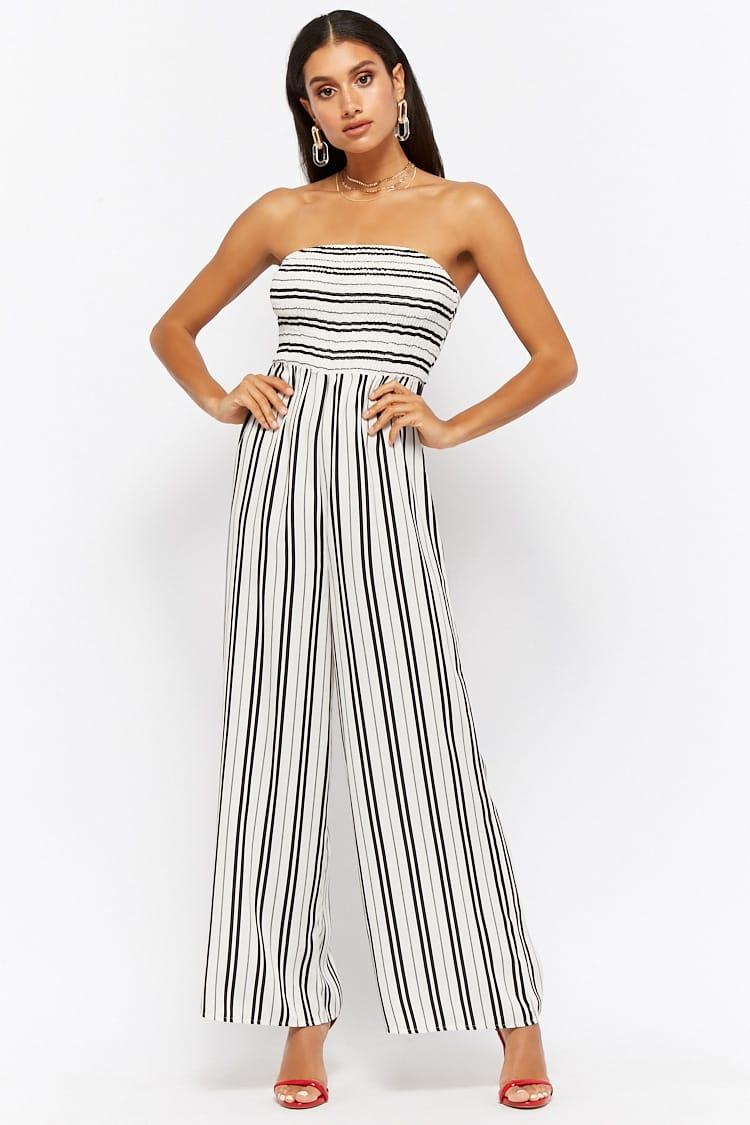 2c9b1b57eb8 Lyst - Forever 21 Women s Variegated Stripe Strapless Jumpsuit
