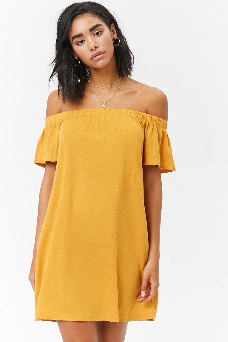 Forever 21 Off The Shoulder T Shirt Dress In Metallic Lyst