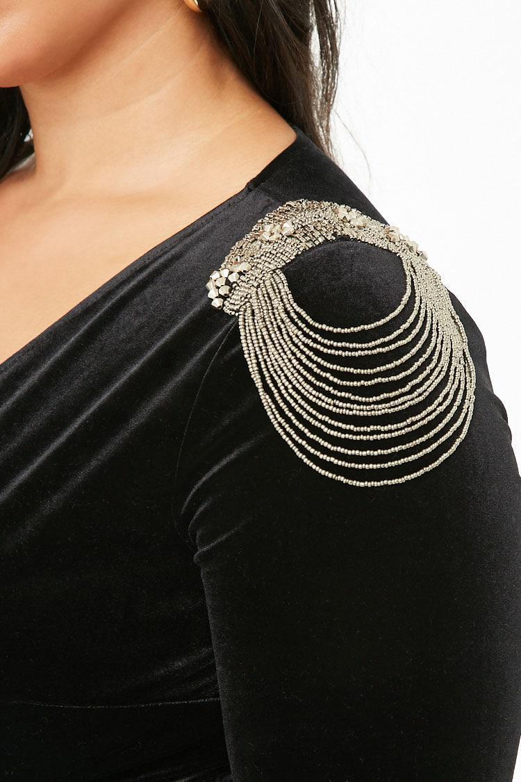 8daa75ee08 ... Plus Size Beaded Epaulette Velvet Bodysuit - Lyst. View fullscreen