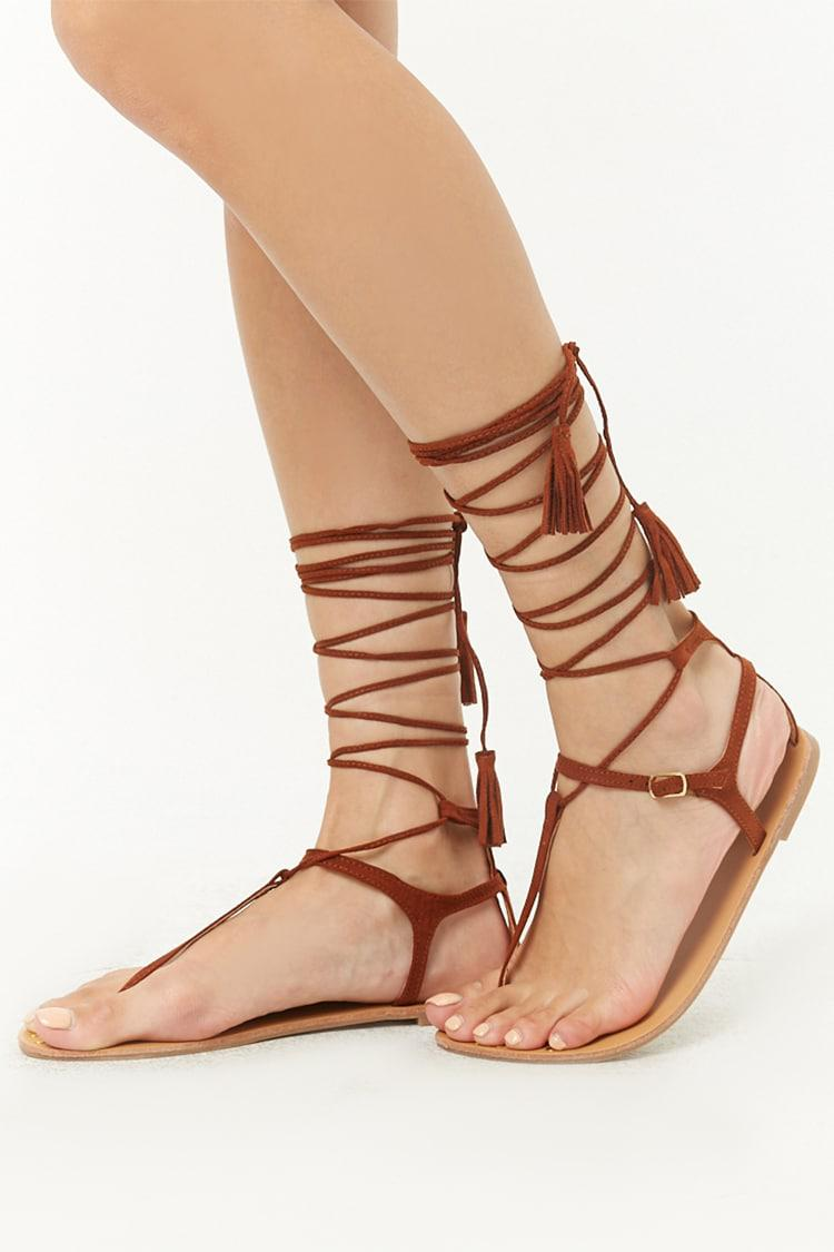Lyst - Forever 21 Qupid Faux Suede Gladiator Sandals in Brown 7198e2d66ce0
