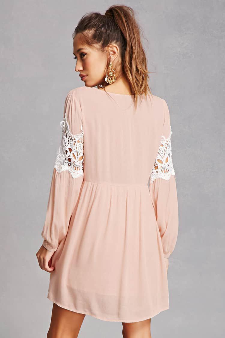Lyst Forever 21 Tassels N Lace Crochet Dress In Pink