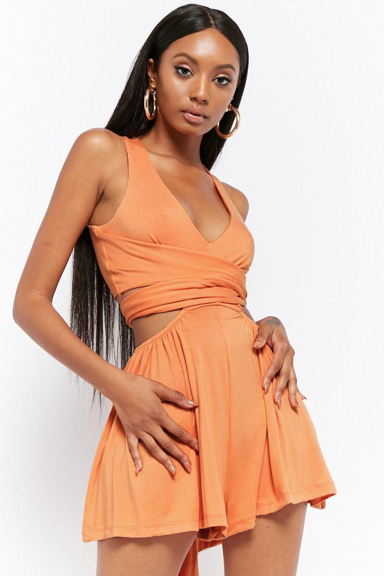 0e21cb55f063 Lyst - Forever 21 Women s Cutout Wraparound Playsuit in Orange
