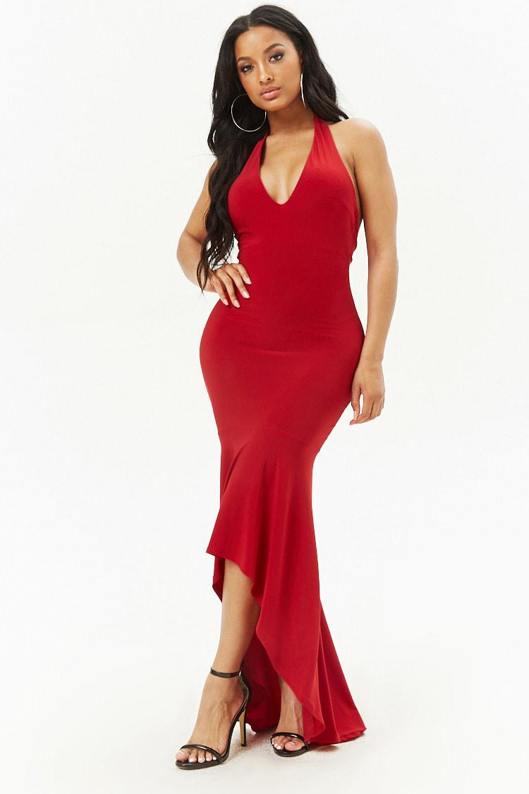 3c73a220b0 Lyst - Forever 21 High-low Halter Dress in Red