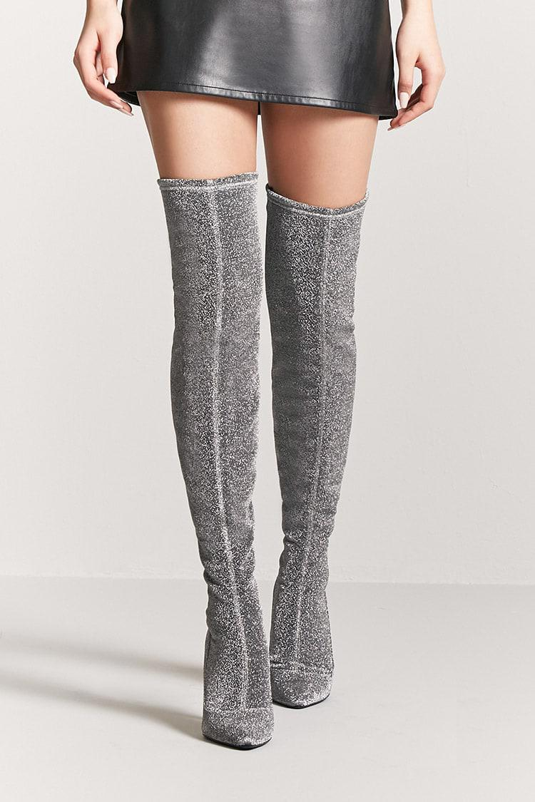 03a4274cdf9 Forever 21 Metallic Over-the-knee Boots in Metallic - Lyst
