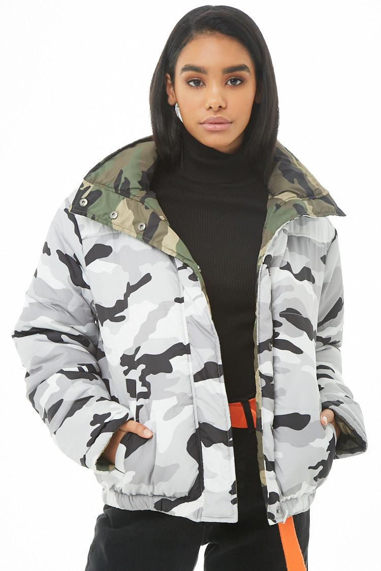 d25a17f09 Forever 21 Reversible Hooded Camo Puffer Jacket in Gray - Lyst