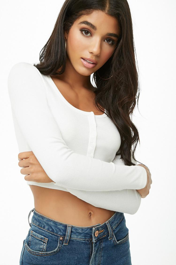 9c3316309baa7 Lyst - Forever 21 Button-front Crop Top in White
