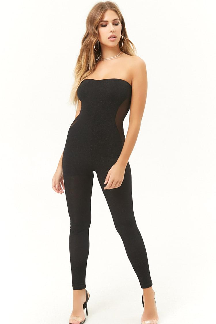 188a23ac1c3 Lyst - Forever 21 Sheer Glittery Tube Jumpsuit in Black