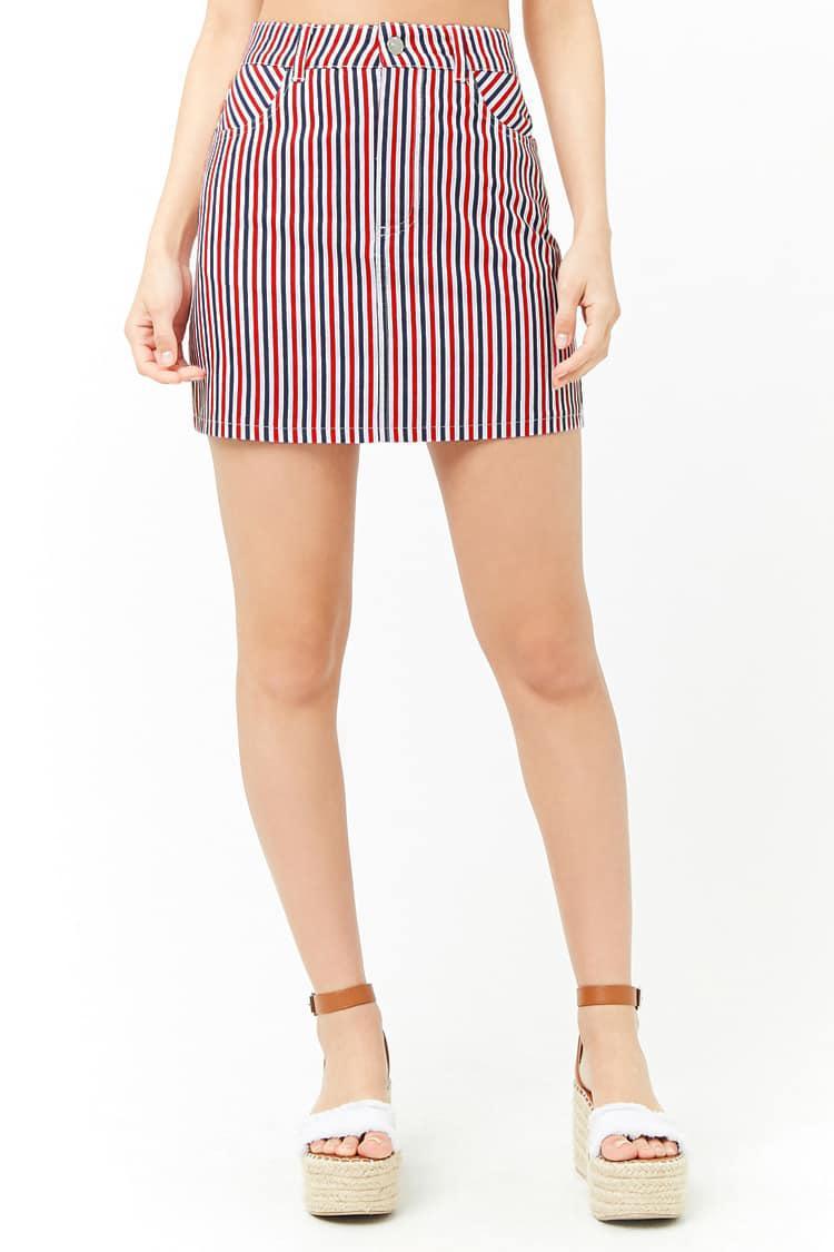 4f338efc448 Forever 21 Multicolor Multi-striped Denim Skirt