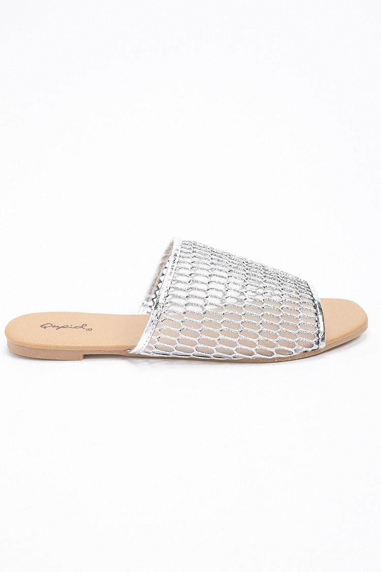 40bad7edd76 Lyst - Forever 21 Qupid Faux Leather Slide Sandals in Metallic