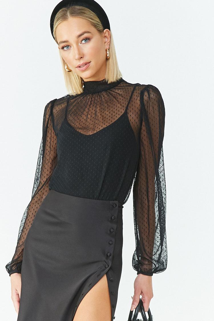Forever 21 Synthetic Sheer Mesh Clip Dot Bodysuit in Black ...