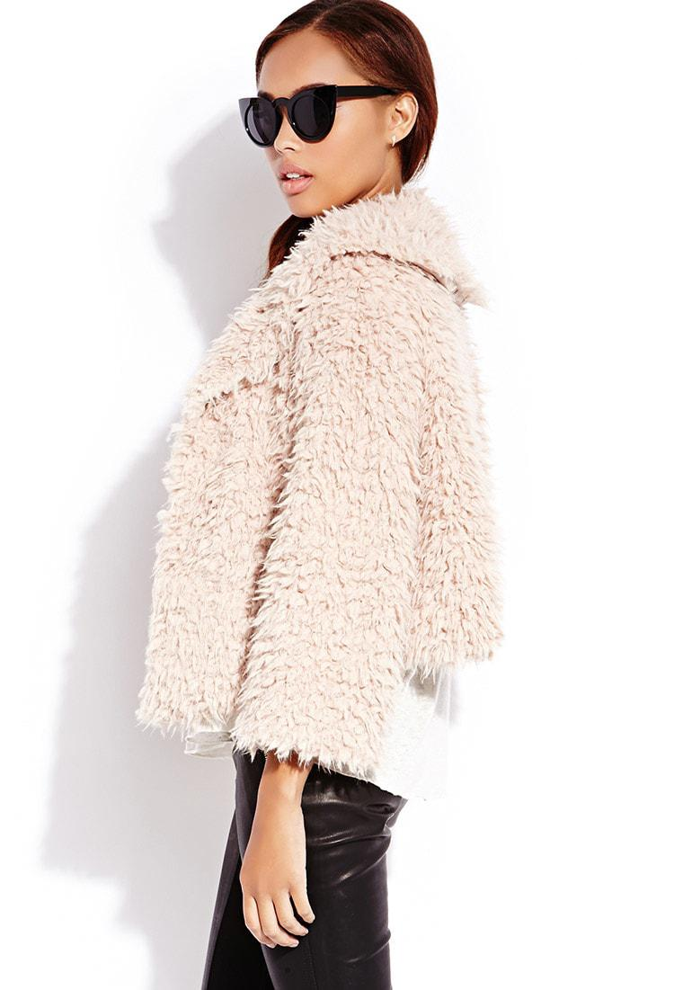 Forever 21 Boho Babe Fuzzy Jacket In Peach Pink Lyst