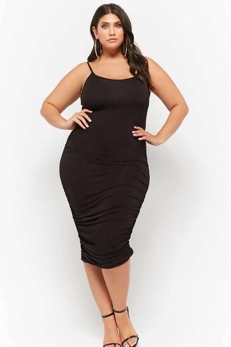 cdf90266b6a Forever 21 Women s Plus Size Slub Knit Ruched Cami Midi Dress in ...