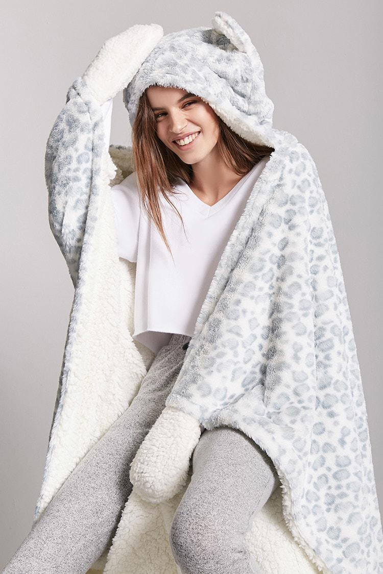 c30930c964ff Lyst - Forever 21 Leopard Print Hooded Blanket in White