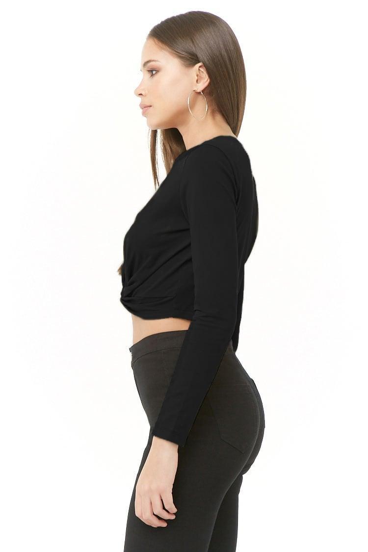 984c07ef65 Forever 21 Women s Twist-front Crop Top in Black - Save 25% - Lyst