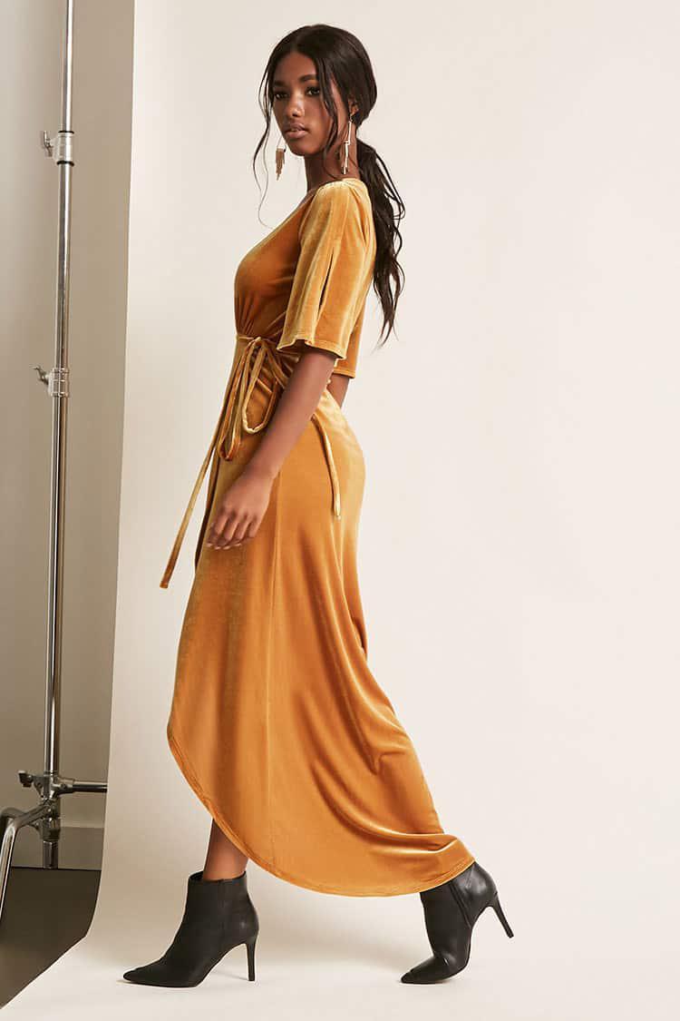 Forever 21 Plunging Velvet Wrap Dress In Mustard Orange Lyst