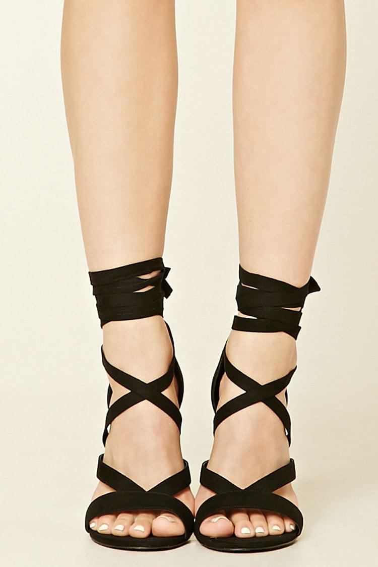 24068282def Forever 21 Black Strappy Faux Suede Heels