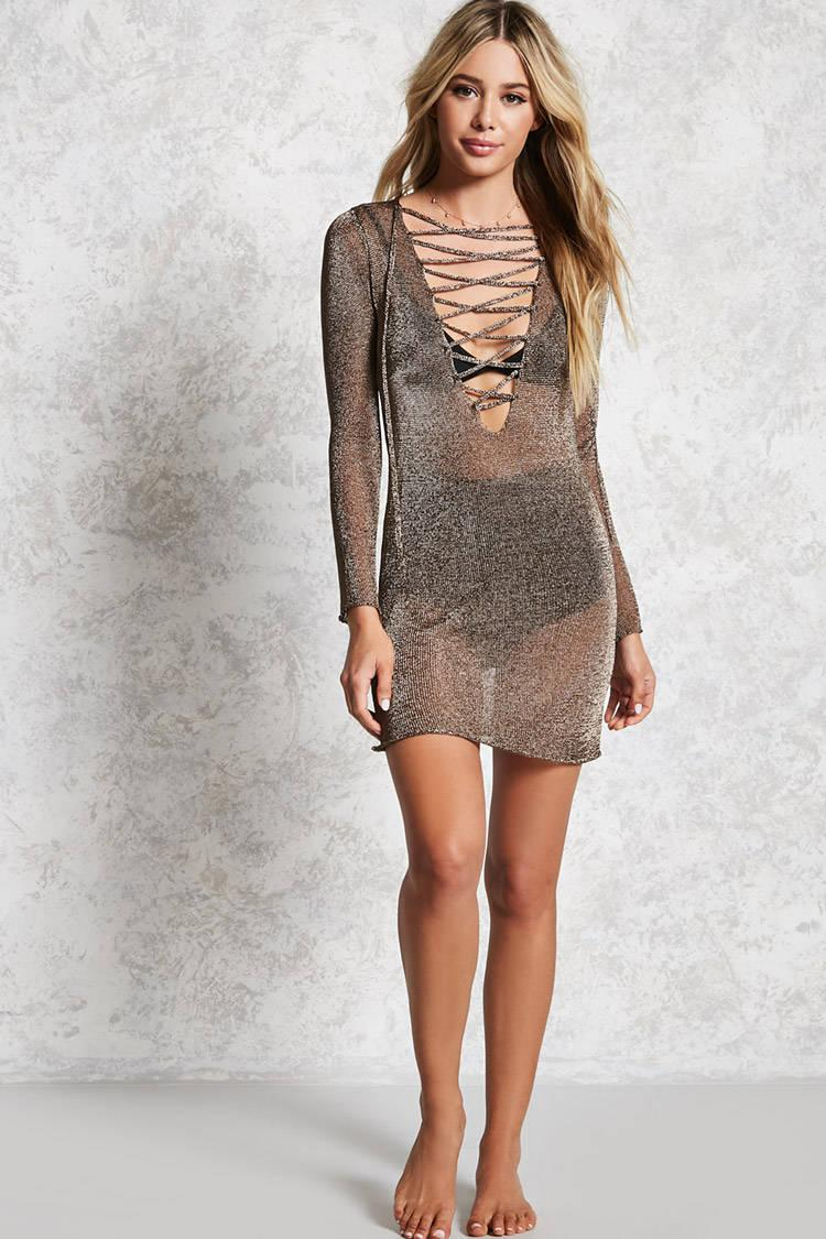 4d7989dfd2 Forever 21 Metallic Chainmail Cover-up - Lyst