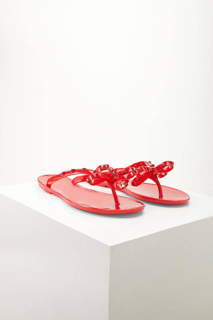 e7f029c129b71 Lyst - Forever 21 Dizzy Studded Bow Jelly Sandals in Red