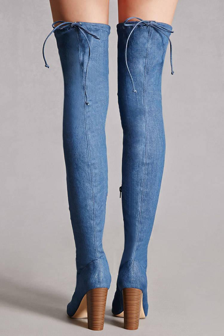 Forever 21 Faux Suede Thigh High Boots In Blue Lyst