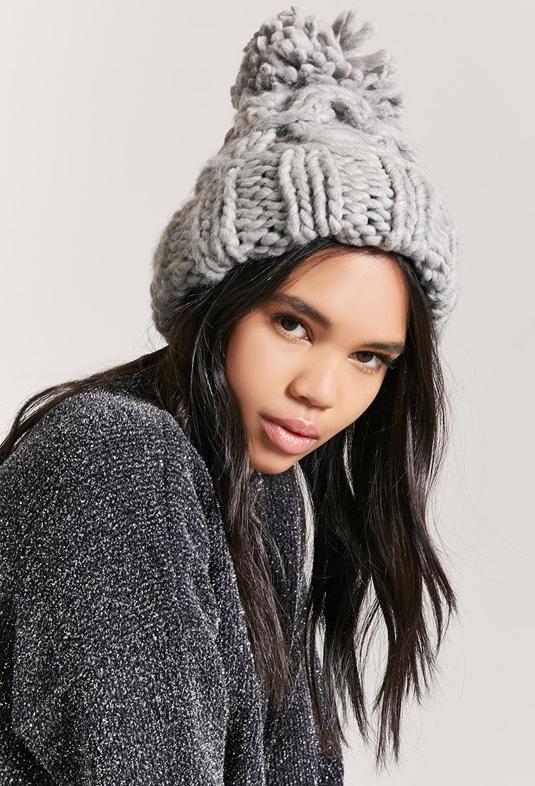 9842282b8 Forever 21 Chunky Cable-knit Beanie Hat in Gray - Lyst