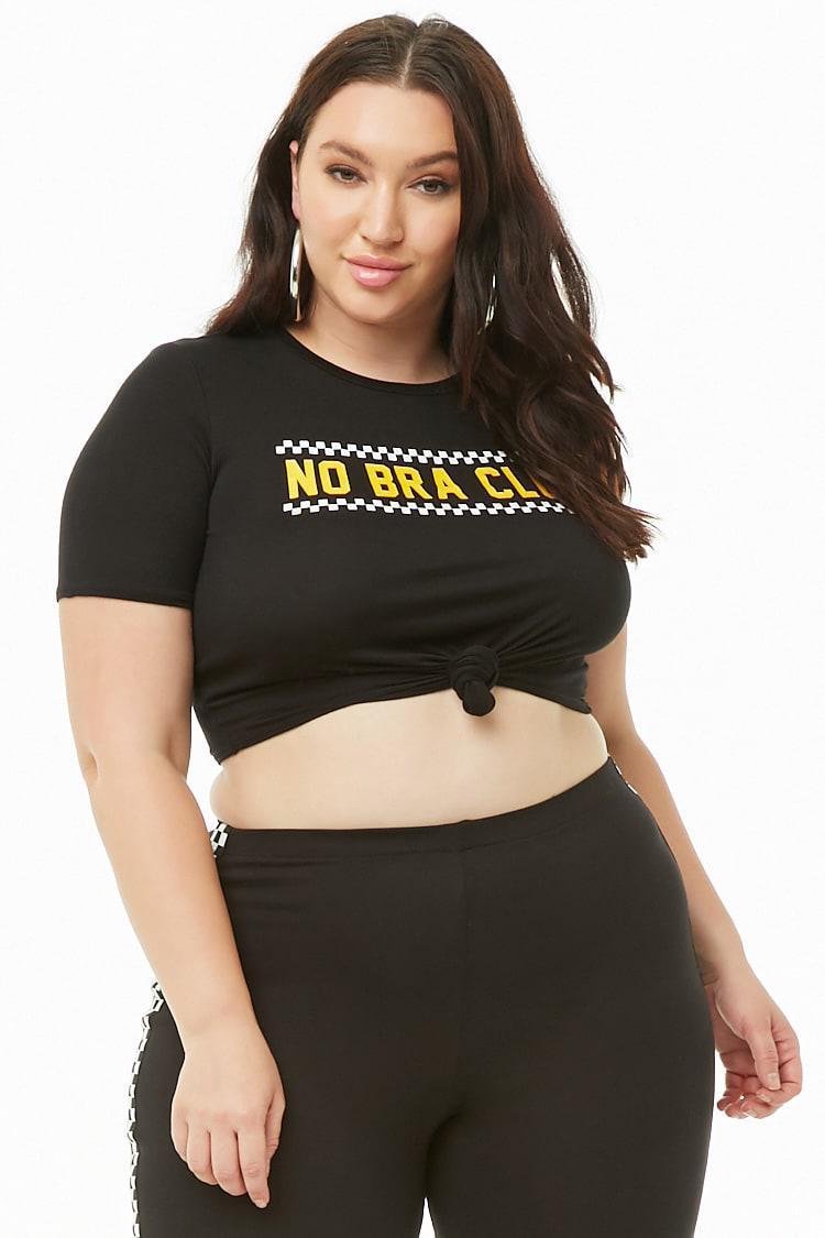 7e419ec426 Forever 21 Women s Plus Size No Bra Club Cropped Tee Shirt in Black ...