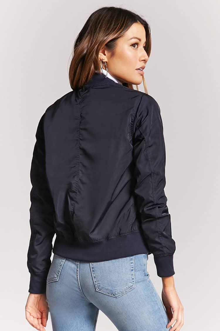 f99aedc1a Forever 21 Blue Zip-front Bomber Jacket