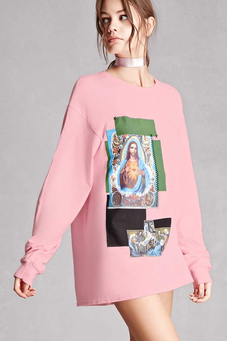 7ffbce518 Forever 21 Repurposed Jesus Graphic Top in Pink - Lyst