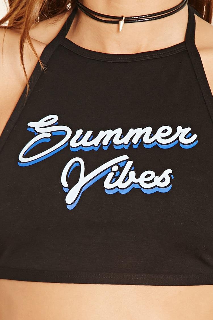 f7fa17fe12b Lyst - Forever 21 Summer Vibes Halter Crop Top in Black