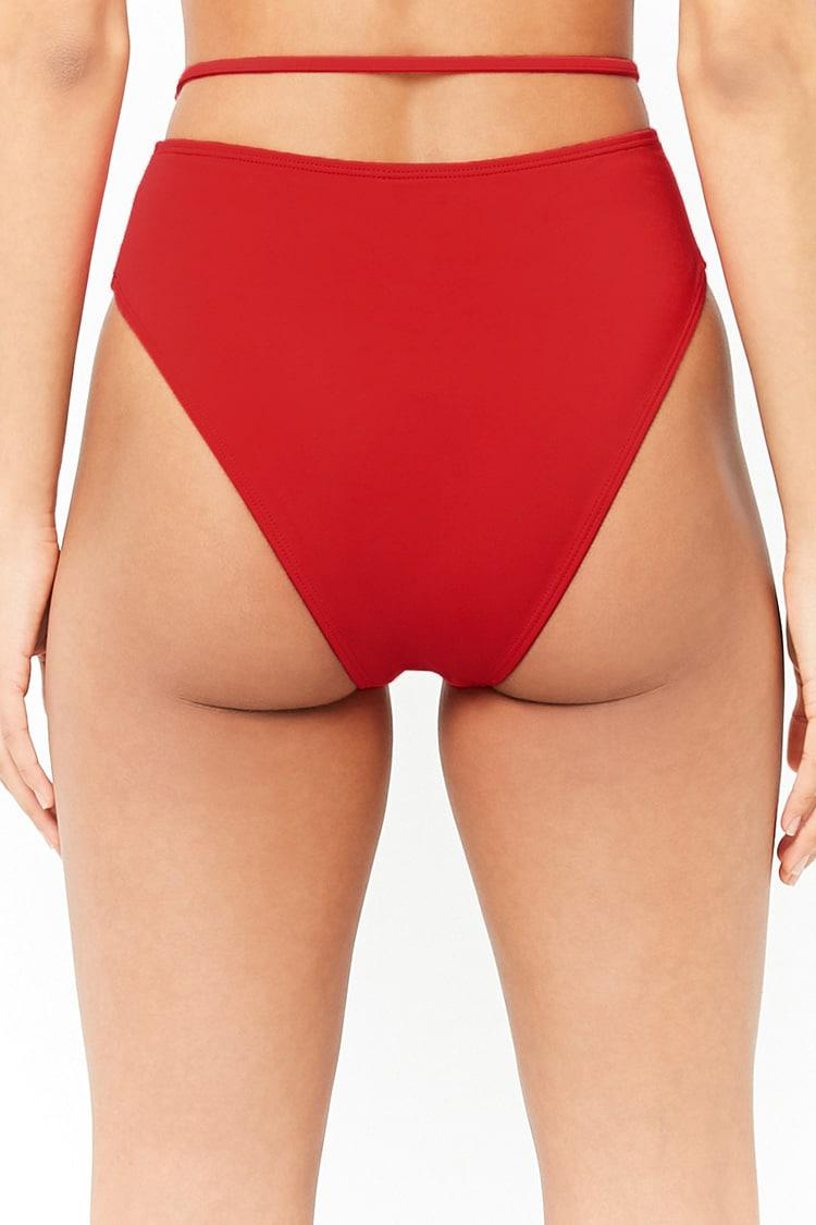 96f4587e2 Forever 21 Women s O-ring High-waisted Bikini Bottoms in Red - Lyst